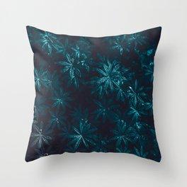Deep Blue Zen Water Lilies Throw Pillow