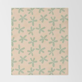 Green & Pink Floral Throw Blanket