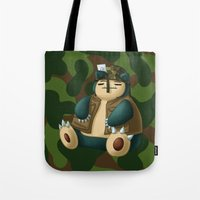 snorlax Tote Bags featuring Warlax! by Kashidoodles Creations