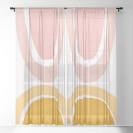 Abstract Shapes 17 in Mustard Yellow and Pale Pink Sheer Curtain