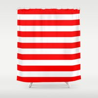 stripes Shower Curtains featuring Horizontal Stripes (Red/White) by 10813 Apparel