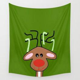Christmas Reindeer Green Wall Tapestry