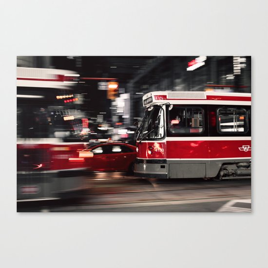 Red buses street Canvas Print