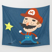 mario Wall Tapestries featuring Mario by Rod Perich