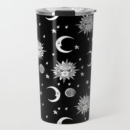 Linocut black and white sun moon and stars outer space zodiac astrology gifts Travel Mug