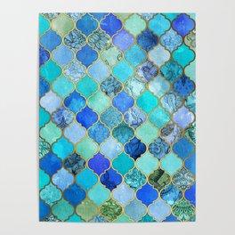 Cobalt Blue, Aqua & Gold Decorative Moroccan Tile Pattern Poster