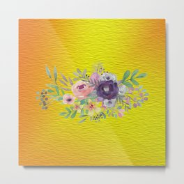 Flowers Gradient Metal Print