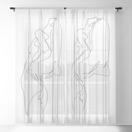 One line nude - e 5 Sheer Curtain