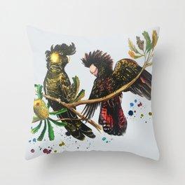 Black Cockatoos Paint Splodge Grey Throw Pillow
