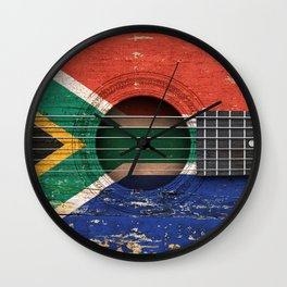 Old Vintage Acoustic Guitar with South African Flag Wall Clock