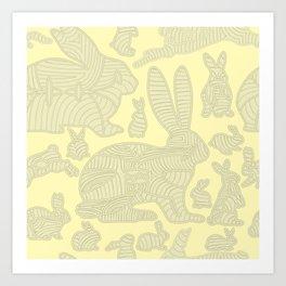 bunnies in lines Art Print
