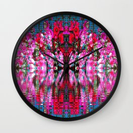 FUCHSIA PINK HOLLYHOCKS IN BLUE WATER REFLECTION Wall Clock