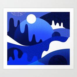 Terrazzo landscape blue night Art Print