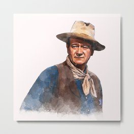 John Wayne - The Duke - Watercolor Metal Print