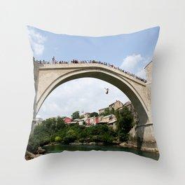 Mostar Bridge Jumper Throw Pillow