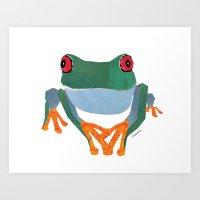 Tree Frog, Collage Art Print