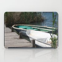rowing iPad Cases featuring Reeds, Rowing Boats and Old Jetty at Dalyan by taiche
