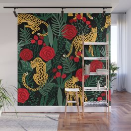 Brown Leopards Jungle leaves and red roses pattern Wall Mural