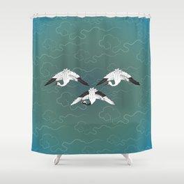 Three White Cranes Shower Curtain