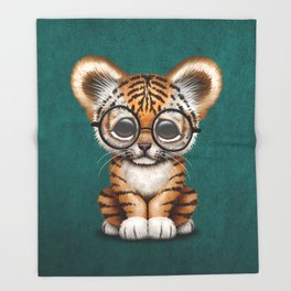 Cute Baby Tiger Cub Wearing Eye Glasses on Teal Blue Throw Blanket