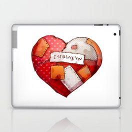 Heart with patches. Valentines day illustration. Laptop & iPad Skin