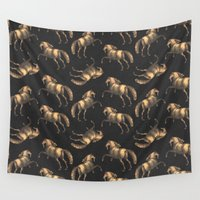 renaissance Wall Tapestries featuring Golden Renaissance Horses by Antique Images