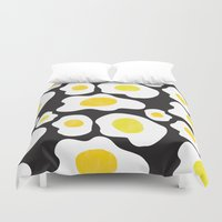 eggs Duvet Covers featuring Fried Eggs  by Vasare Nar