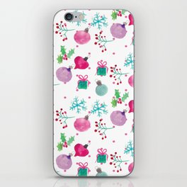 Christmas Watercolor Ornament Snowflake Mix iPhone Skin