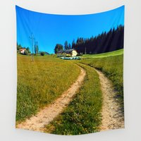 hiking Wall Tapestries featuring Hiking trail in hot spring scenery by Patrick Jobst