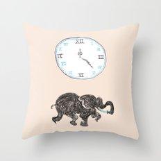 Elefante reloj Throw Pillow