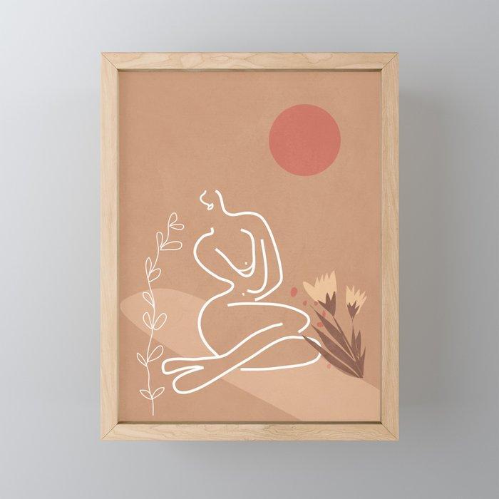 Woman in Nature Illustration Framed Mini Art Print