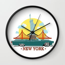 Cabriolet car on the background of the Statue of Liberty and Golden Gate Bridge Wall Clock
