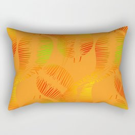 Pattern of neon feathers and leaves on a yellow background. Rectangular Pillow