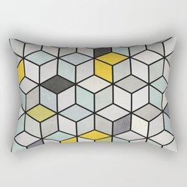 Colorful Concrete Cubes - Yellow, Blue, Grey Rectangular Pillow