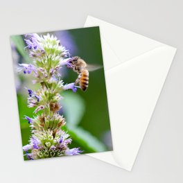 Bee on Blue Flowers 1 Stationery Cards