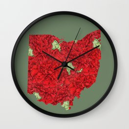 Ohio in Flowers Wall Clock