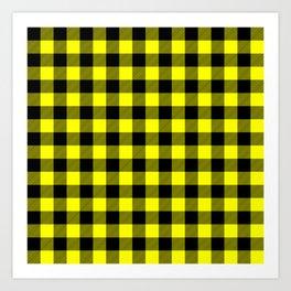 Bright Yellow and Black Lumberjack Buffalo Plaid Fabric Art Print