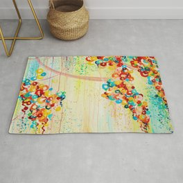 SUMMER IN BLOOM - Beautiful Abstract Acrylic Painting Vibrant Rainbow Floral Nature Theme  Rug