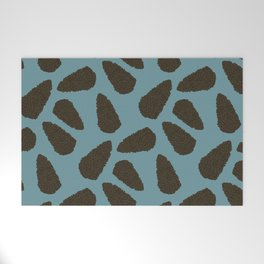Tree Patterns: Teal Pinecones Welcome Mat