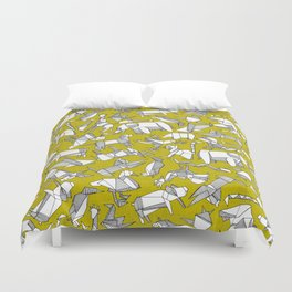 origami animal ditsy chartreuse Duvet Cover