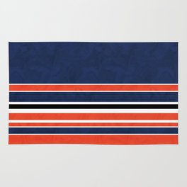 Blue , orange , stripe Rug