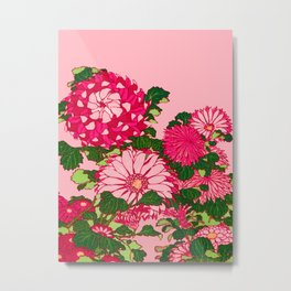 Japanese Flower Border, Fuchsia and Coral Pink Metal Print