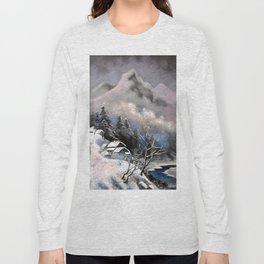 Winter village in the mountains Long Sleeve T-shirt
