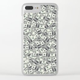 Giant money background 100 dollar bills / 3D render of thousands of 100 dollar bills Clear iPhone Case