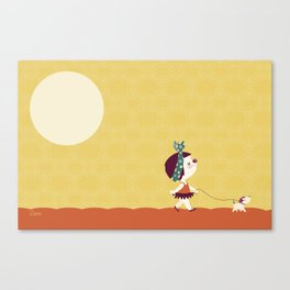 Clown series - Walking the dog Canvas Print