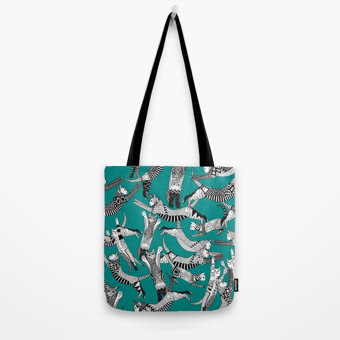 cat party teal blue Tote Bag