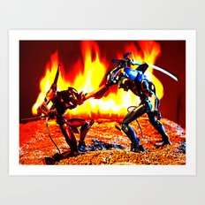 Eva-00 vs Eva-02 photoshoot Art Print
