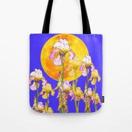 IRIS GARDEN & RISING GOLD MOON  DESIGN ART Tote Bag