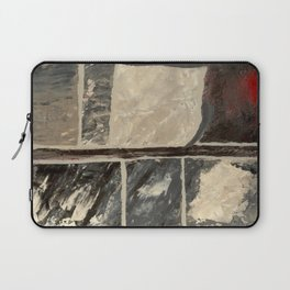 Textured Marble Popular Painterly Abstract Pattern - Black White Gray Red Laptop Sleeve