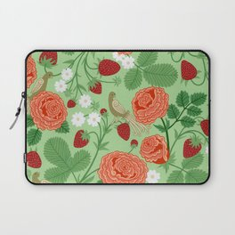 Roses and strawberries on green Laptop Sleeve